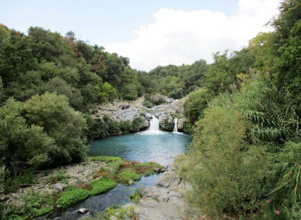 Gurne dell'Alcantara – trail of the river trapped in the basaltic rocks.